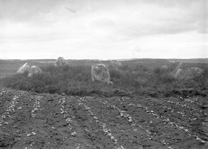 General view. Original negative captioned 'Cullerlie Circle, on Standing Stones Farm, near Garlogie, Echt. Viewed from South side July 1902'.