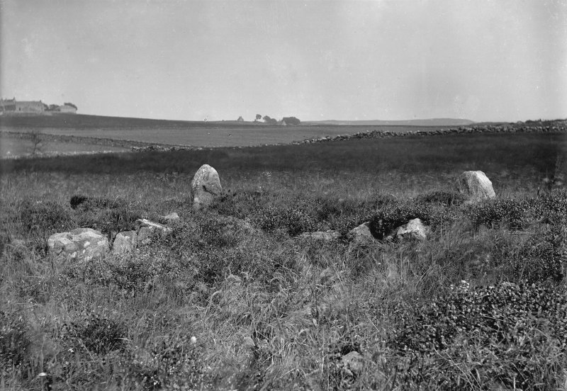 View of stone setting. Original negative captioned: 'Stone Circle at Cairnwell near Portlethen Station looking North showing ...... [illegible] / July 1902 Stone Setting in foreground'.