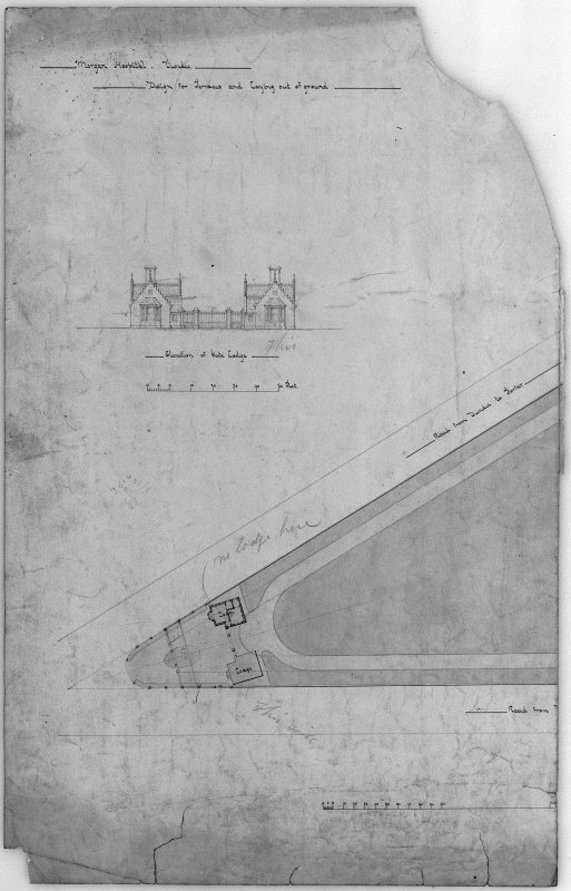 Plans and elevations of gate lodge. Scanned image of D 39781.