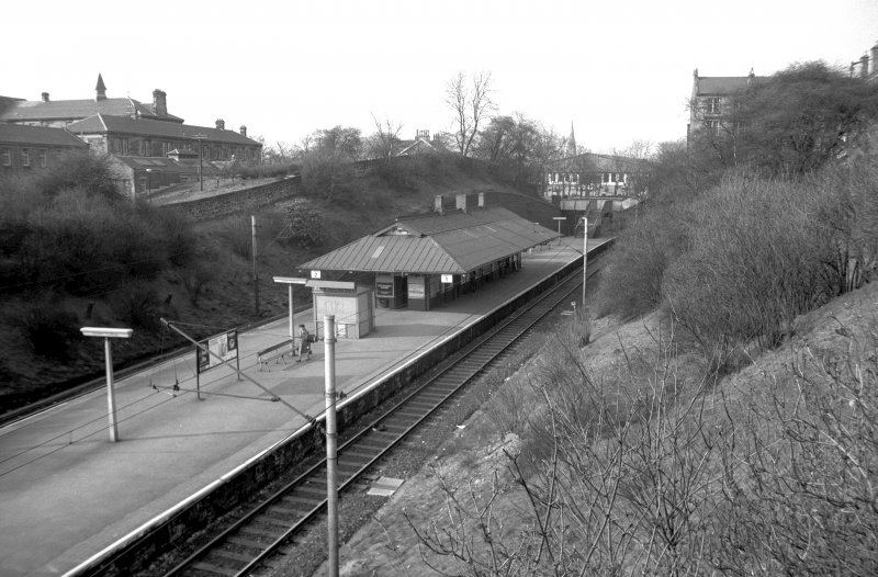 View from S showing SSW and ESE fronts of platform building