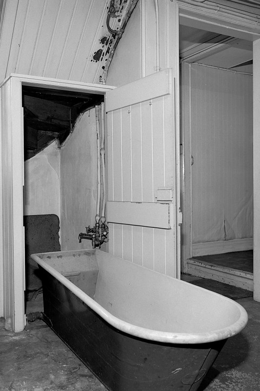 Detail of 'Savaspace' bath-in-a-cupboard in the ground floor laundry (with door open showing bath in lowered position). Digital image of B 57284.
