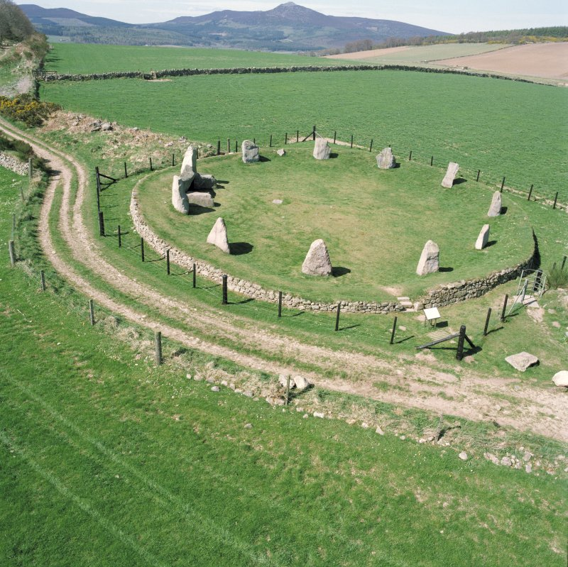 Hi-spy view of the stone circle at Easter Aquhorthies, Aberdeenshire.
