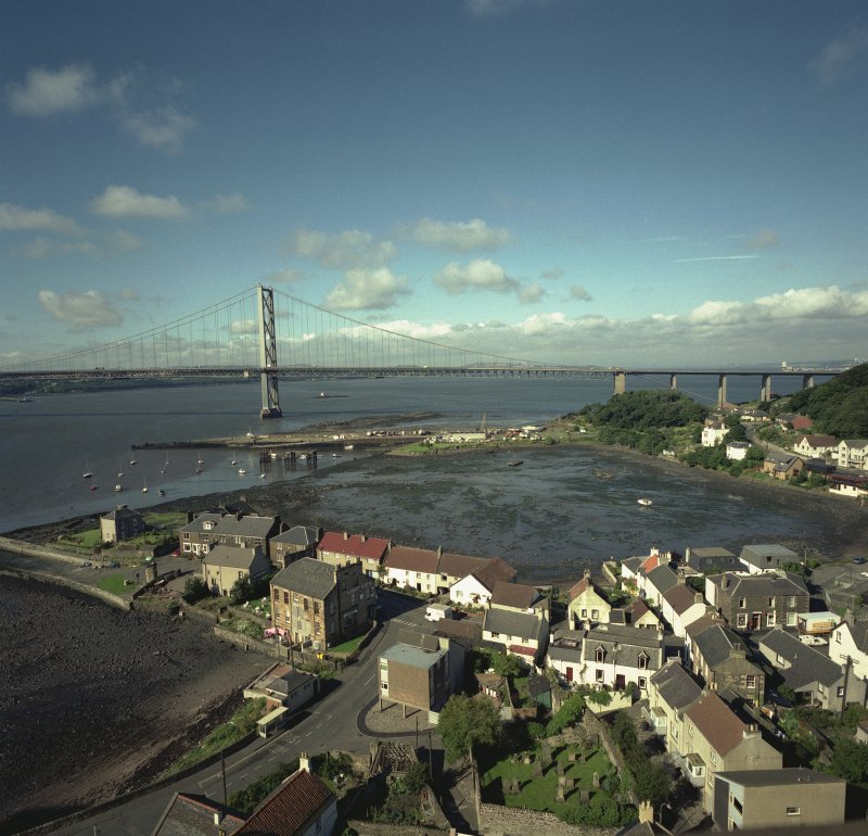 View of North Queensferry and North Road Bridge from Bridges's North approach viaduct. Digital image of B 3282 CN.