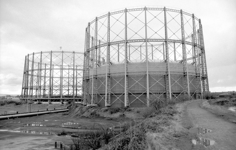 View from ENE showing N gasholder with S gasholder in background