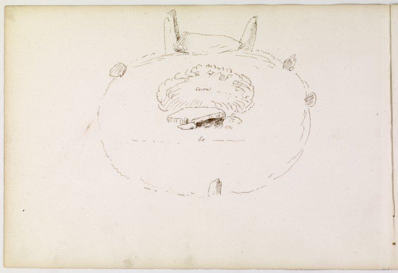 Sketch plan of stone circle, page 58(reverse).  Digital image of ABD/545/4/P.