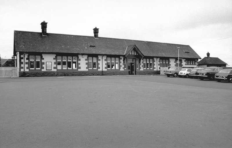 Scanned image of view from SE showing ESE front of down platform building