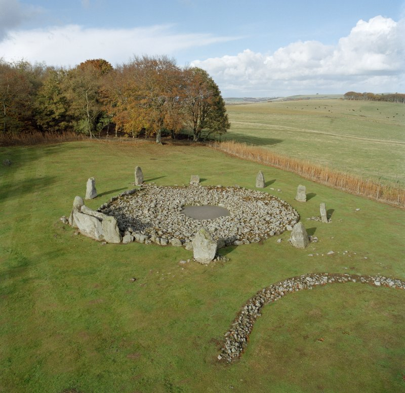 Digital image of high-spy view of recumbent stone circle.