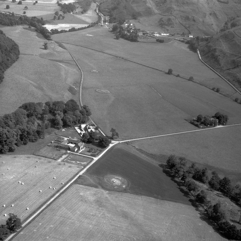 Oblique aerial view of N End of Nether Largie cairns.