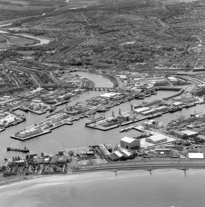 Oblique aerial view of Aberdeen city centre.