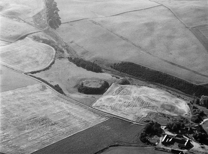 Oblique aerial view centred on the remains of the motte and bailey at Peel of Fichlie, looking to the ESE.