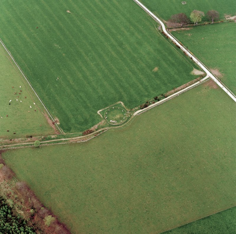 Oblique aerial view of the remains of the recumbent stone circle, taken from the S.