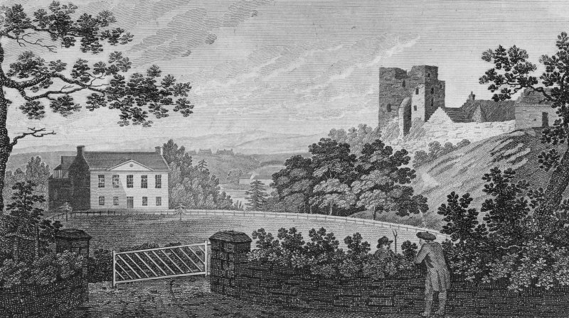 Engraving. General view of Cathcart Castle and Cathcart House.