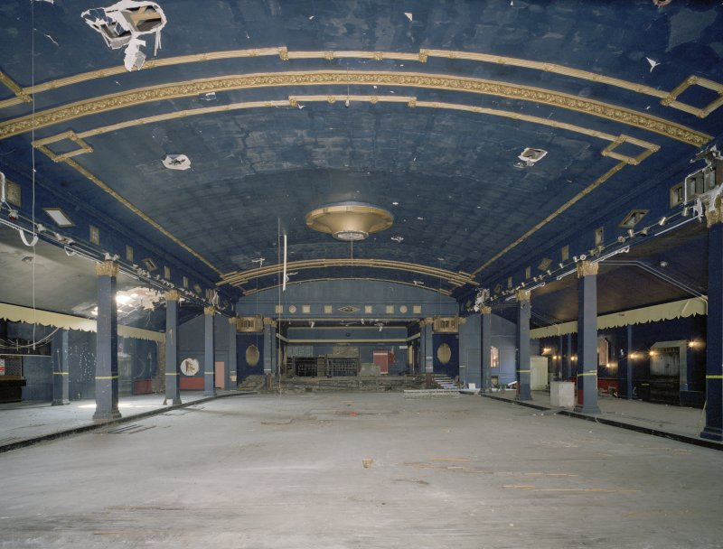 Interior view of the Plaza Ballroom, Glasgow, from NNE. Since demolished.