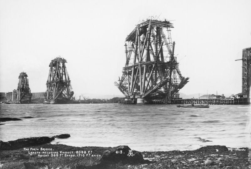 View of the bridge under construction. Insc. 'The Forth Bridge. Length including Viaduct 8098 Ft. Height 369 Ft. Spans 1710 Ft each.  613'