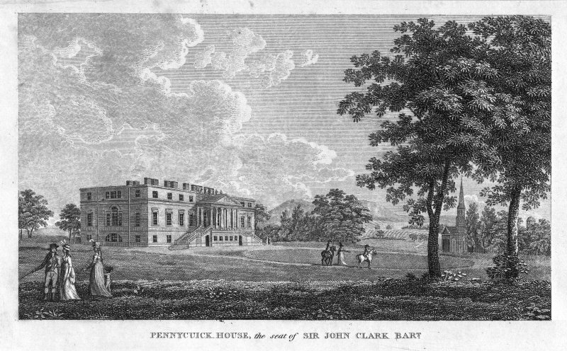 Perspective view showing front elevation inscr; 'Pennycuick House, the seat of Sir John Clark Bart.'