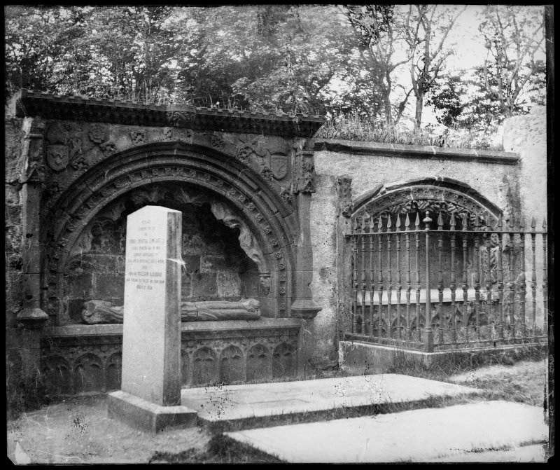 View of Bishop Dunbar's tomb with unidentified effigy, St Machar's Cathedral, Aberdeen.