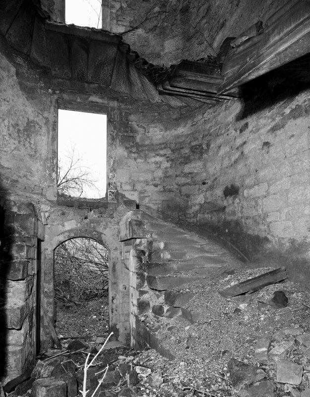Digital copy of interior. View of staircase.