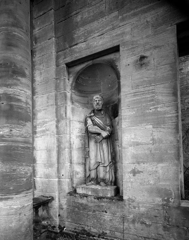 Digital copy of detail of statue on NE facade.