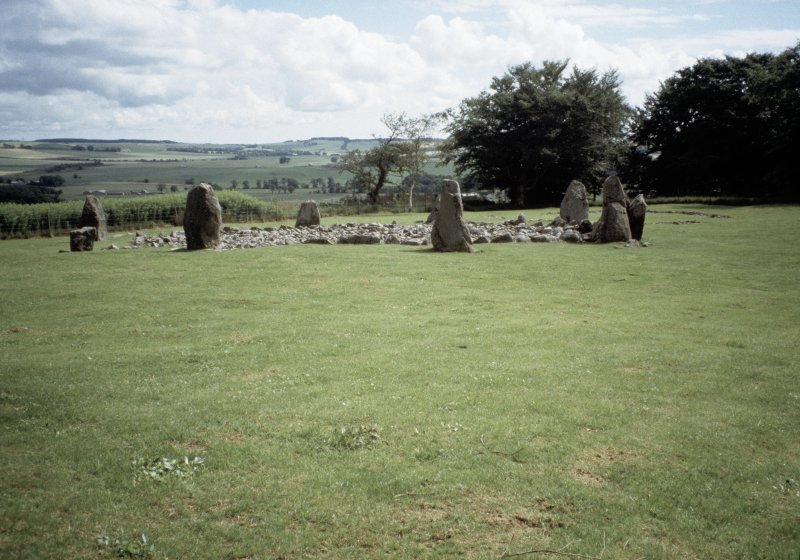 Copy of colour slide (H93814cs) showing general view of recumbent stone circle.