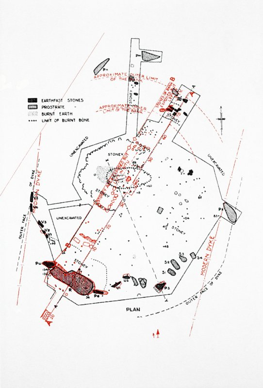Copy of slide (H 93838s) of a plan published in Childe, VG 1934 'Final report on the excavation of the stone circle at Old Keig, Aberdeenshire', Proc. Soc. Antiq. Scot. 68 (1933-34), 372-93), fig. 9.