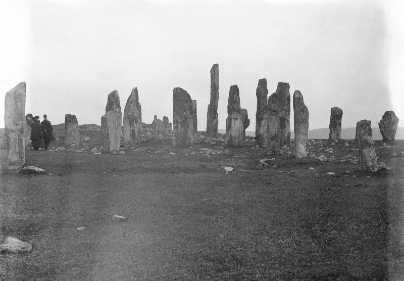 Callanish.  View of stone circle and alignments.