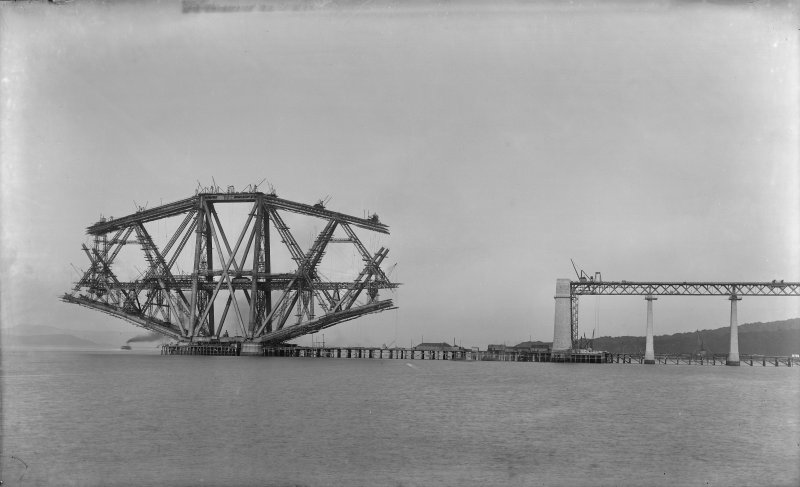 View of the Forth bridge under construction seen from the West.