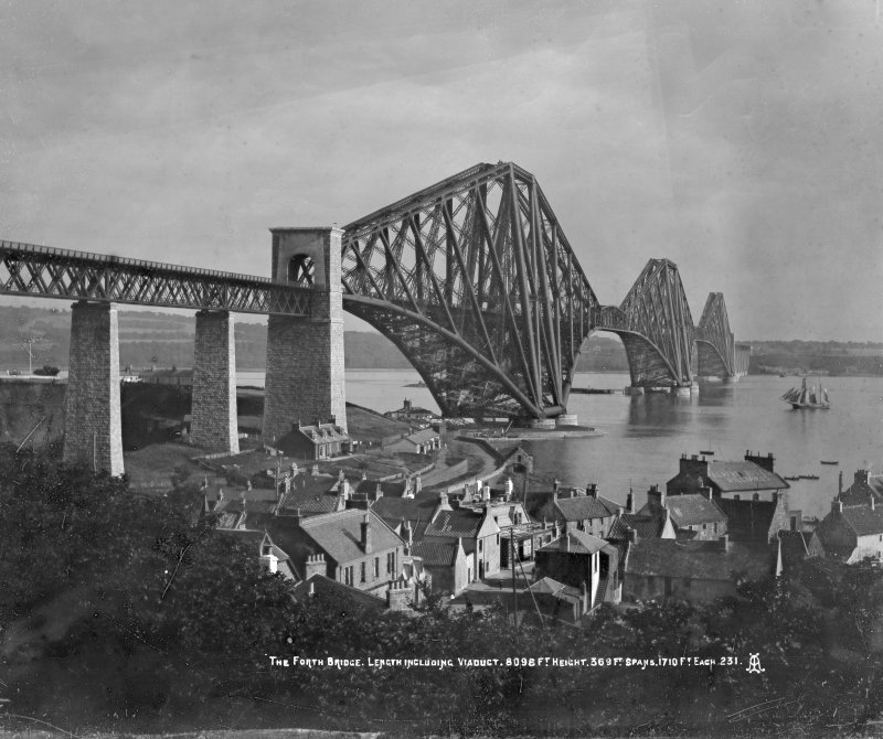 General view from the North West with houses on the Fife shore in the foreground. Insc. 'The Forth Bridge. Length including Viaduct 8098 Ft. Height 369 Ft. Spans 1710 Ft each.  231.'
