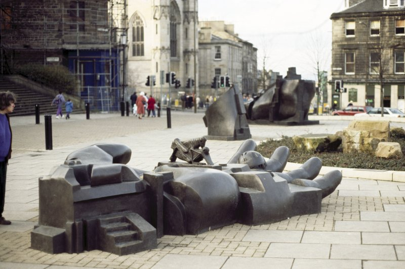 View of sculpture 'The Manuscript of Monte Cassino', outside St Mary's Metropolitan Cathedral, Picardy Place.
