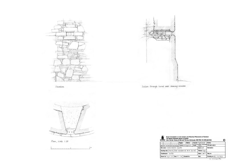 Ground floor window at North West turret, plan, elevation and section through turret wall showing window