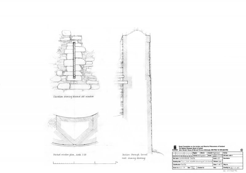 First floor window blocking at South West turret, plan, elevation and section through turret wall showing blocking