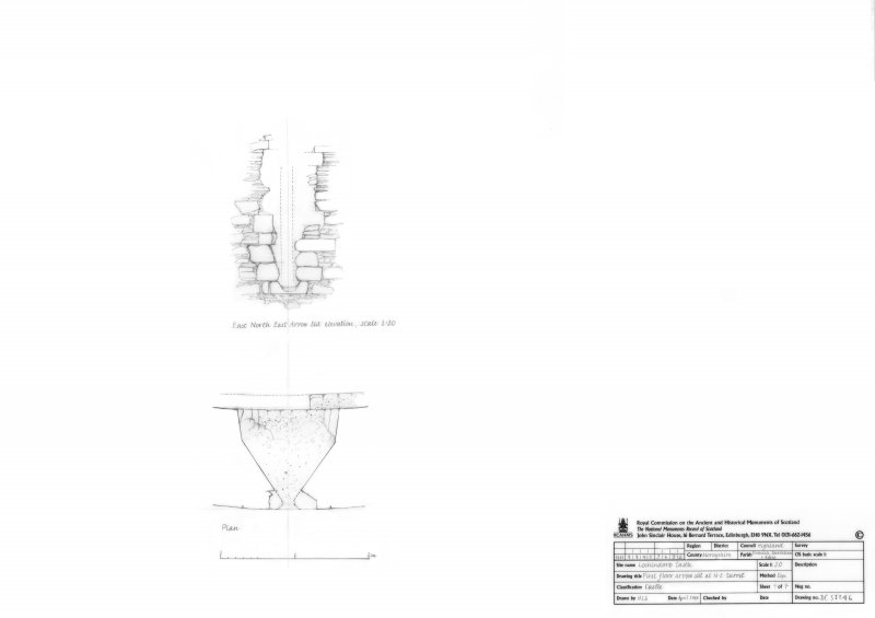 First floor arrow slit at North East turret, plan and elevation
