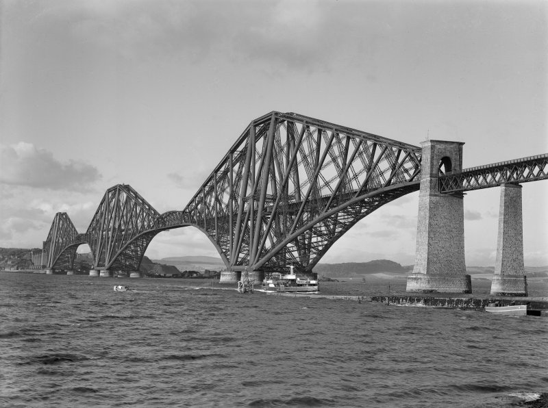 View of the bridge from the South West shore, with ferry in foreground.