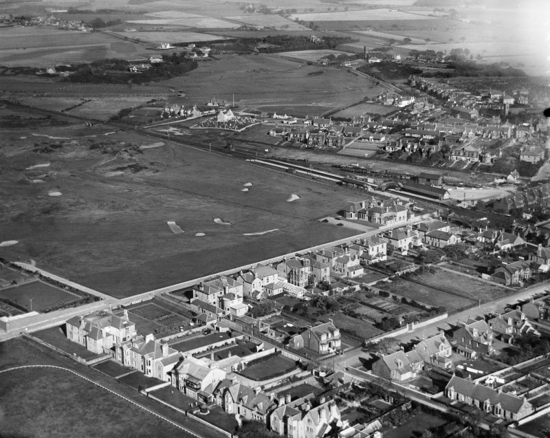 Prestwick, general view, showing Prestwick Golf Course, Links Road and Prestwick Station.  Oblique aerial photograph taken facing north-east.