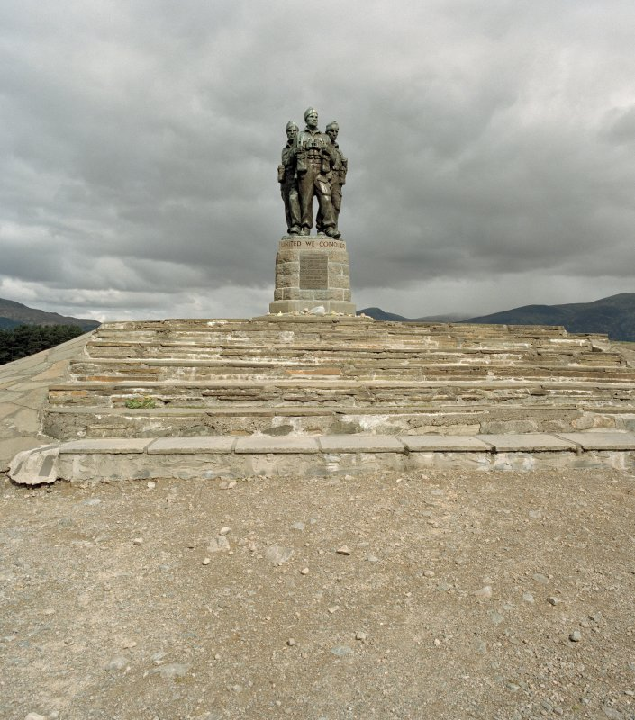 General view of statue, plinth and stepped base from south