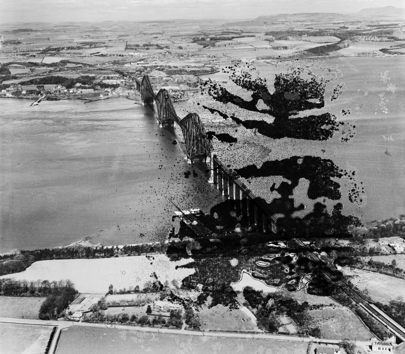 Forth Rail Bridge, Firth of Forth.  Oblique aerial photograph taken facing north.  This image has been produced from a damaged negative.