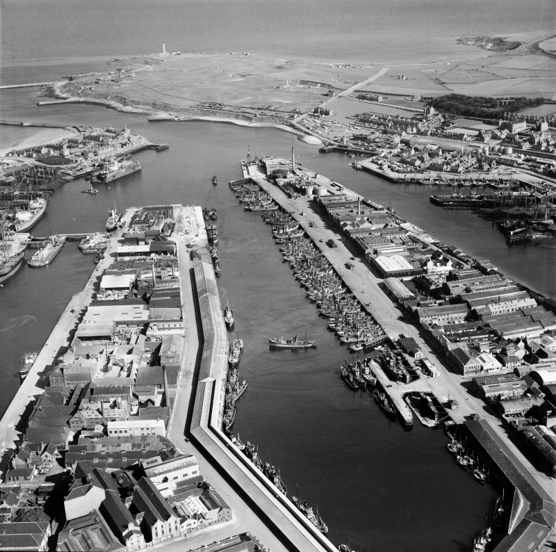Albert Basin, Aberdeen Harbour.  Fishing Fleet.  Oblique aerial photograph taken facing east.