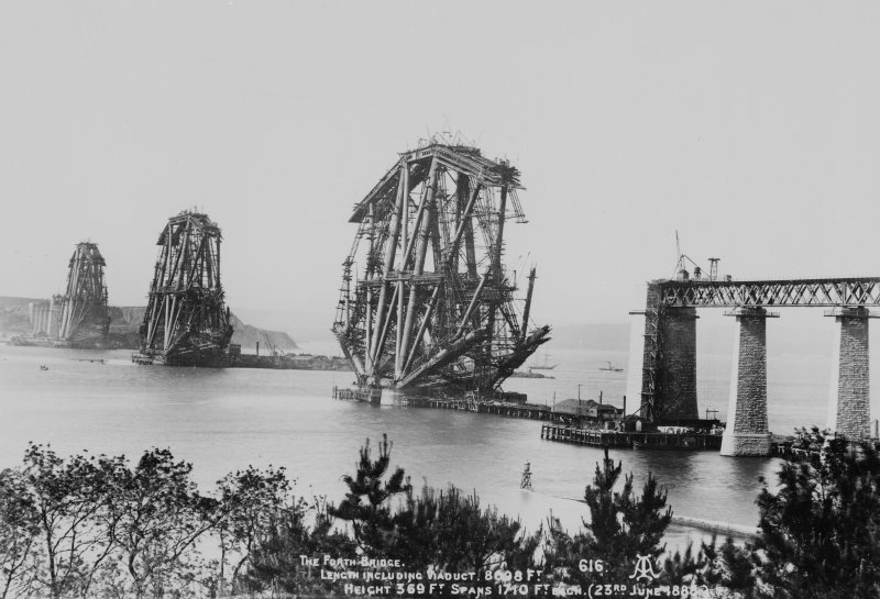 View of the bridge under construction. Insc. 'The Forth Bridge. Length including Viaduct 8098 Ft. Height 369 Ft. Spans 1710 Ft each. (23rd June 1888)  616.'