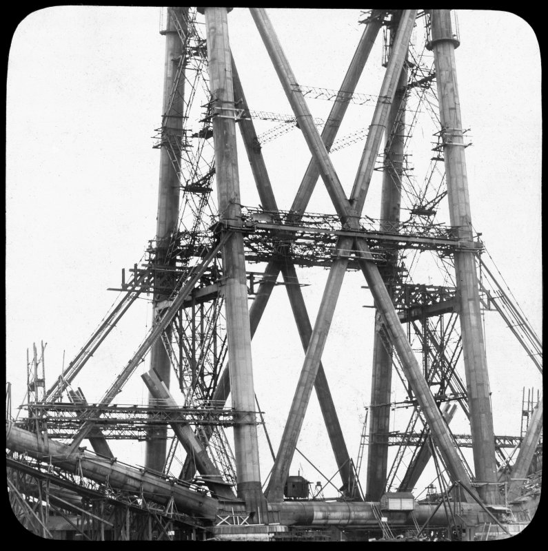 Detailed view of construction on a central section of one of the erections. Lantern slide.