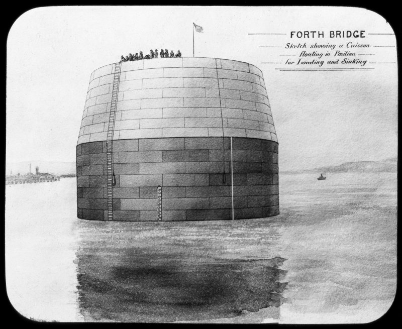 Insc. 'Forth Bridge. Sketch showing a Caisson floating in Position for Loading and Sinking.' Insc. '5. Floating Caisson. The Forth Bridge. G.W.W.' Lantern slide.