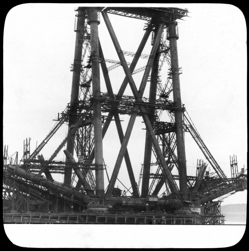 View of one of the erections under construction seen from the Firth of Forth. Lantern slide.