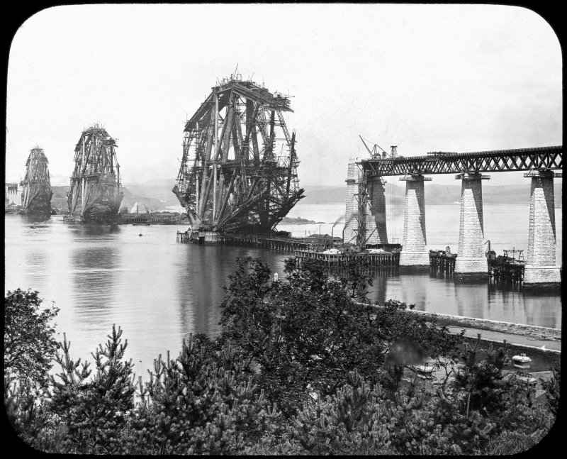 General view of the bridge under construction seen from the South South East. Lantern slide.