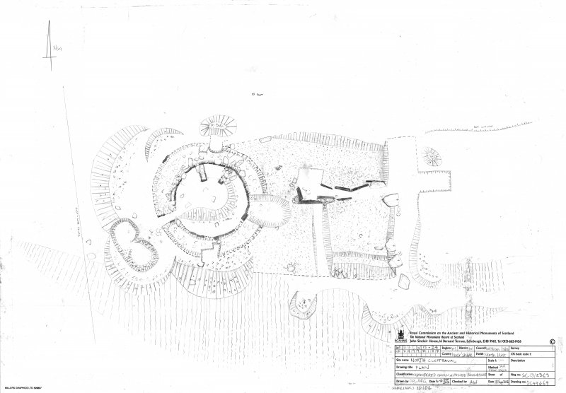 North Clettraval, Chambered cairn & aisled roundhouse, Ground plan.