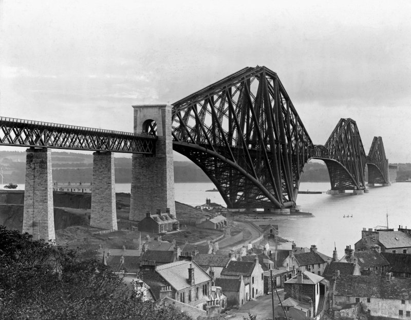 View of the bridge from North Queensferry. Insc. 'Forth Bridge & N. Queensferry. Co. Cameron.' Lantern slide.