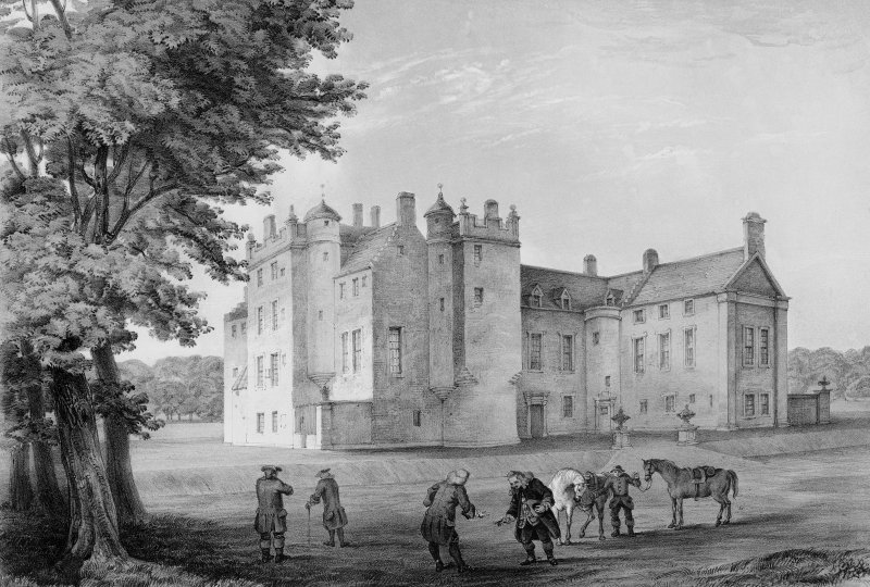 Photographic copy of engraving showing view of Old Pennycuik House.