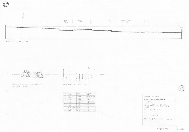400dpi scan of site plan DC44504 - Plan, elevation and section of Loanhead of Daviot RSC