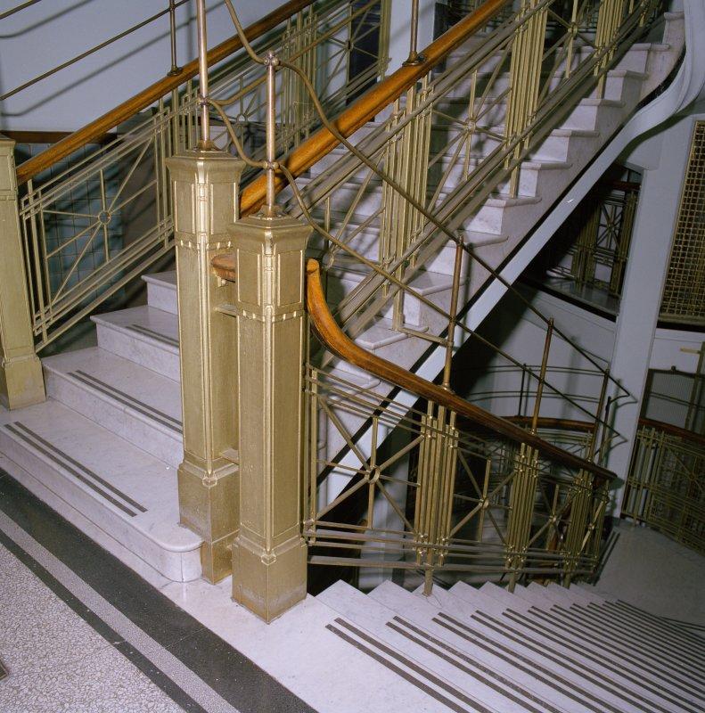Interior. 2nd floor. Main stair. Newel posts. Detail