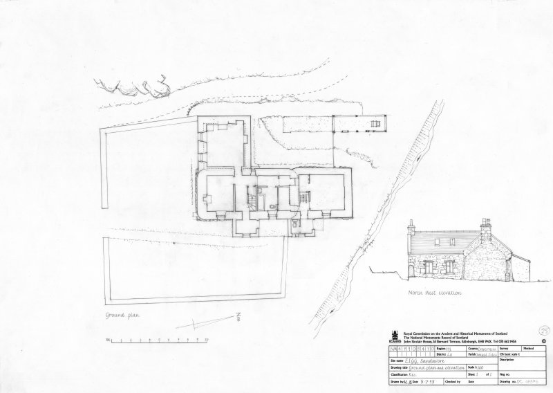 Survey drawing; ground plan and elevation of house at Sandavore