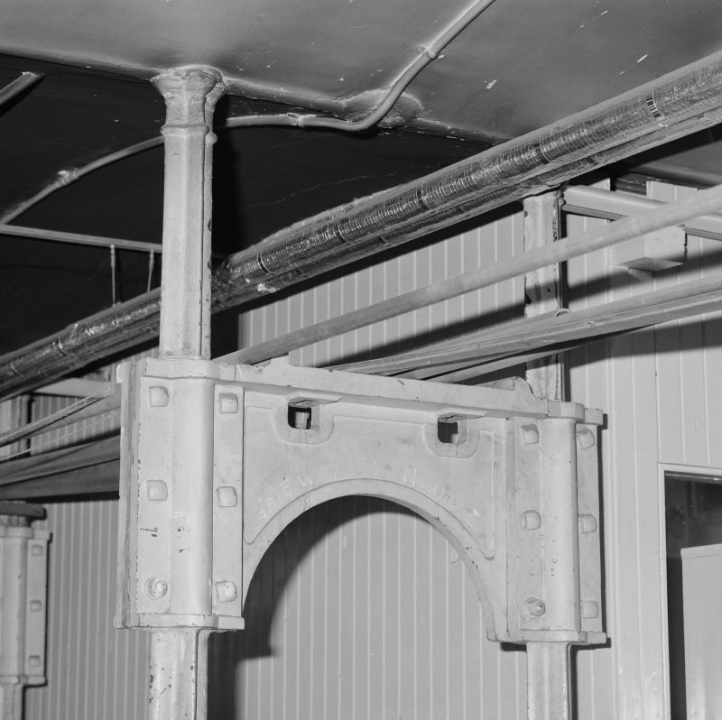 Interior.  Ground floor, detail of cast iron columns with stretcher