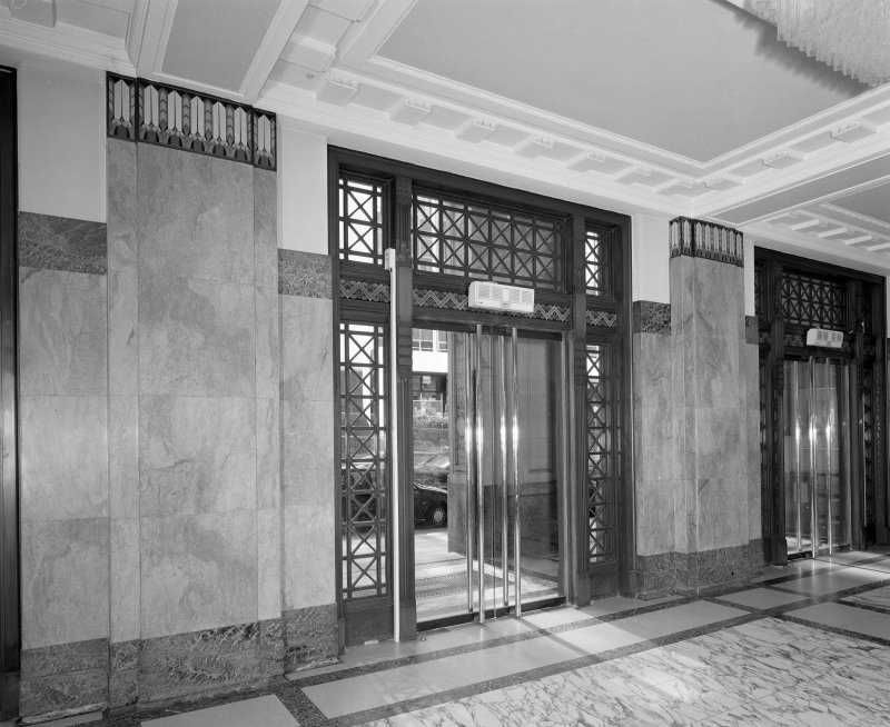 Interior. Detail of entrance hall/main doors