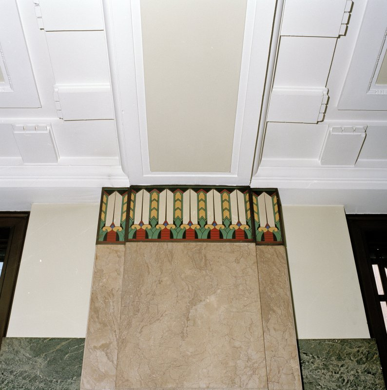 Interior. Detail of entrance hall stylised capital and decoration
